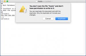 Mac bilgisayarda hosts dosyası değiştirme
