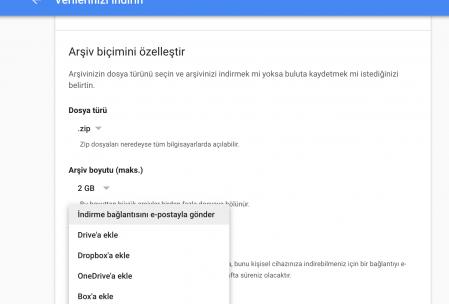Google takout arsiv yaratma