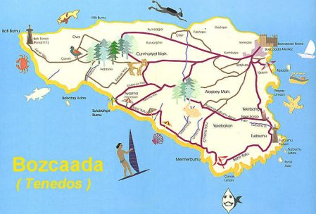 Bozcaada haritası