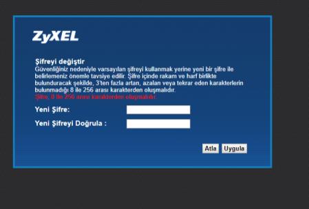 ZyXel VMG3312-B10B modem arayüz şifresi