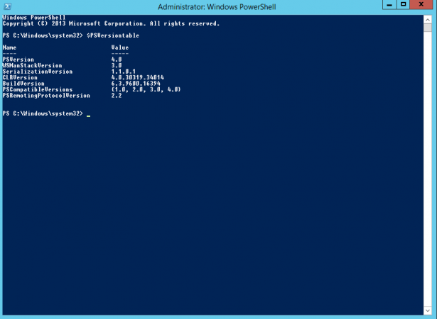ResetRunspaceState is not supported on the server. The server must be running Windows PowerShell 5.0 or greater.
